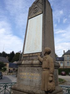In every small town in Creuse, you will find a statue/homage to all the people (mostly very young men) who were killed in war...but this is not to glorify it...this particular one doesn't only have all their names, but the figure of a young boy, with a fist, essentially PROTESTING war.